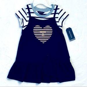 NAUTICA 2pc Girl Dress Blue Gold Love Heart 2T